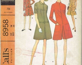 60s Romper Pattern McCalls 8958. Pantsdress or Dress with Inverted Pleat, Sleeve Options, Collar and Pockets. Uncut FF Size 14 Bust 34