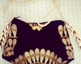 small shoulder bag, gold pattern, velvet bag, beautiful little hand bag, purse, with sea shells