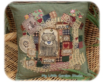 Love My Cats- 12 inch, Original, Crazy Patchwork Cushion Cover, Primitive hand drawn, Applique, Hand Embroidered, Made in Australia
