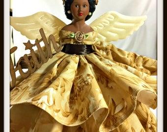 Latina Angel, Dark Skinned Angel, Black Dolls, Angel Tree Topper, Mother's Day Gift, Inspirational Angel, Porcelain Angel