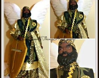 WAR ANGEL, African American Angel of War, Man Cave Decoration,  OOAK Handmade Black Angel With Shield, Male Angel, Father's Day Gift
