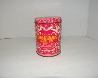 Boston's Darjeeling Tea Metal Tin Canister Vintage 1970s