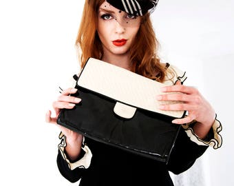 Vintage black white large clutch purse, 1970s, patent quilted ivory