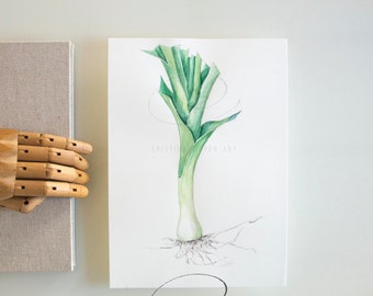 Leeks art, original leek drawing, modern kitchen wall art, leek illustration, kitchen decor, vegetable art, leek illustration wall art, leek