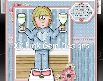 Rita's Balanced Diet  - Downloadable Card Kit with Decoupage