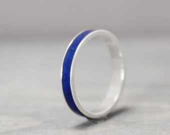 Lapis Lazuli Ring, Sterling Silver Ring, Thin Silver Ring, Inlay Ring, Blue Ring, Silver Band, Metaphysical Ring, Meditation Jewelry