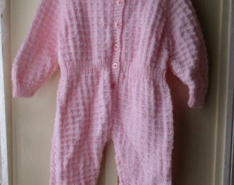 ON SALE Vintage handknit layette, Pretty in pink one piece knit suit / footed baby romper 9-12 months