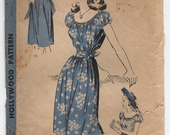 """1940's Hollywood Shift Dress with Tied-Waist - Bust 32"""" - No. 1809"""
