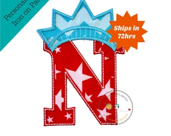 Star spangle inital letter N iron on applique, Patriotic monogram embroidered patch, Liberty letter N July 4th holiday monogram, 4th of july