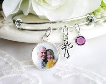 Memory Photo Charm Bracelet Always in My Heart Cross Charm ADD Birthstone Bangle Sympathy Bracelet Remembrance Jewelry In Memory Bracelet
