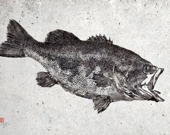 BLACK / LARGEMOUTH BASS Gyotaku print (2) - traditional Japanese fish art