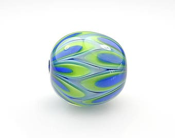 Blue and Green Lampwork Glass Pod Focal Bead