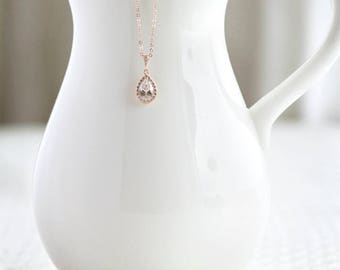 Rose Gold Teardrop Crystal Necklace, Bridesmaid Gifts, Bridesmaid Jewelry, Bridal Jewelry, Teardrop Jewelry, Bridal Necklace Wedding Jewelry