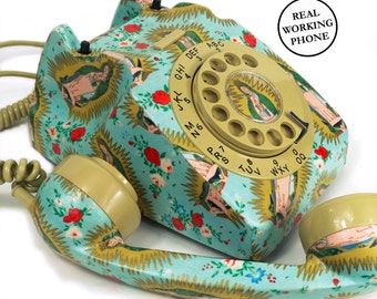 Mexican Folklore Religious Icon Vintage Rotary Phone - Quirky Home Decor