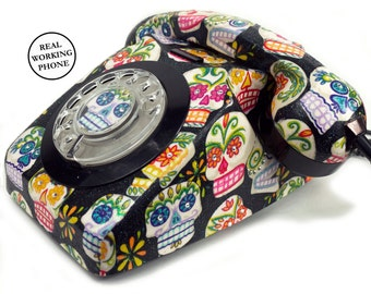 Sugar Skulls Day of the Dead SE Vintage Rotary Phone FULLY WORKING - Unique Home Decor