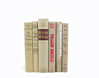 Khaki Beige Books, Decorative Books, Book Set, Old Book Decor, Wedding Centerpiece, Brown Books, BOok Collection, Instant LIbrary stack