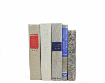 Light Gray Books, Decorative Books, Old Book set, Masculine Home Book Decor, Grey Book Collection,  Instant LIbrary, HOme decoration
