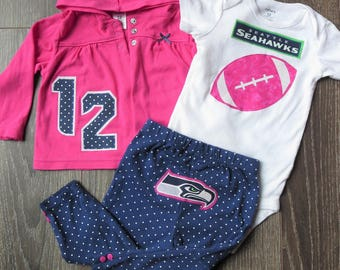 12M Seahawks outfit - 3 piece - Ready to mail!