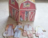 Paper wood dolls farmer boy with barn and  Santa Claus and Mrs Claus fun cut wood dolls collectible