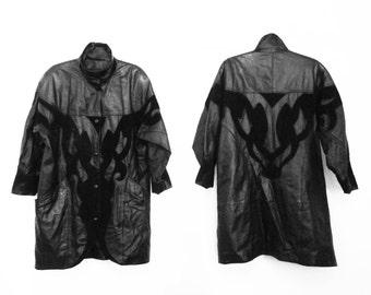 Black Leather Jacket/ 80s Leather Jacket/ 90s Leather Jacket/ 90s Goth/ Long Leather Jacket/ Victorian Jacket/ Victorian Coat/ Goth Jacket