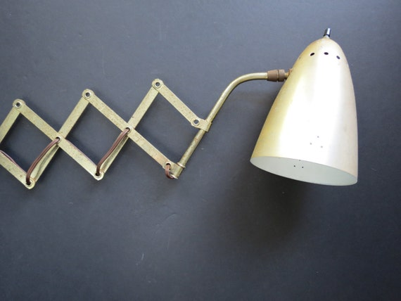 Wall Mounted Accordion Lamps : Mid Century Accordion Wall Lamp // Vintage Extendable Wall