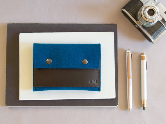 Felt and leather PASSPORT WALLET / passport case / blue and black / blue wallet / wool felt wallet / handmade / made in Italy
