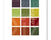 Happy New Year 2017 holiday card, modern, geometric multi-colored grid with layered bold Futura type, 5X7 single or 8-card boxed set