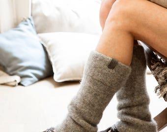 Boiled wool gray leg warmers - knit leg warmers - felted organic wool leggings - knit accessories womens