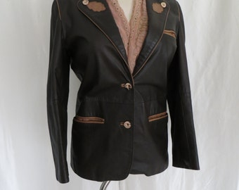 Vintage womens leather jacket, blazer, 80s brown leather size M L