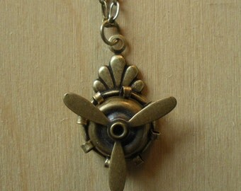 Steampunk Necklace Propeller Antiqued Brass Really Spins!