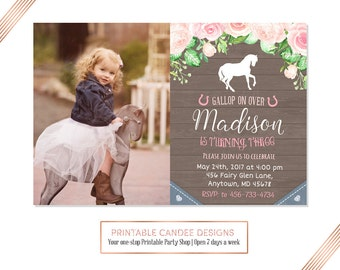 Cowgirl Birthday Invitation, Horse Birthday,Horse Invitation, Cowgirl Party, Rustic Horse Invitation, DIY Custom Printable