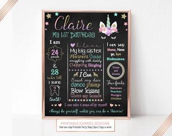 Unicorn Birthday Chalkboard Sign, Unicorn Birthday, Milestone Sign, Printable Stats Sign, 1st Birthday Custom Board, Not Printed