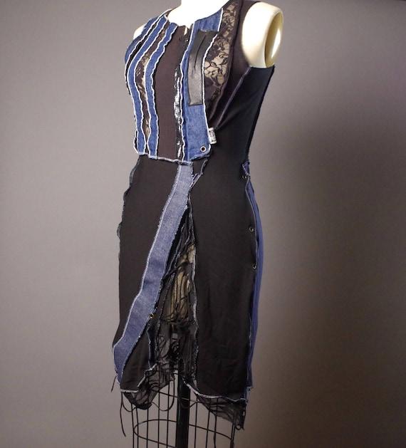 OOAK Denim Dress - Up-cycled Denim dress - Street wear - Funky - Summer Dress - Steampunk