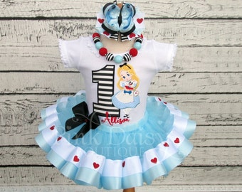Alice in ONEderland First Birthday Tutu Outfit - Alice In Wonderland Tutu Set - Blue Ribbon Trimmed Tutu - Hearts - Stripes - White Rabbit