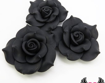 42mm Black Polymer Clay Rose Flatback Cabochons ( 3 pieces ), Flower Cabochons, Large Flower, black flowers