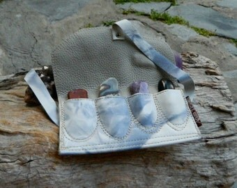 Medicine Pouch Set of Loose Stones Australian Jasper, Agate, Amethyst and Obsidian OOAK by Ariom Designs
