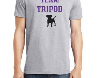 Team Tripod Shirt, 3 Legged Dog Shirt, Disabled Dog, Tripod Dog, District Threads, Direct to Garment, Men's Dog Shirt,  Heather Grey Shirt
