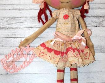 Happy Birthday Lucy Anne - Primitive Raggedy Ann Doll