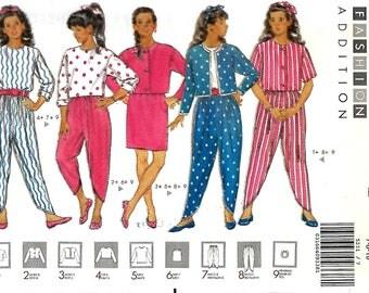 Butterick 5231 Fast & Easy Girls Jacket, Top, Skirt, Harem Pants And Headband, 7-8-10, UNCUT