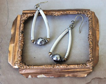 Modern Silver Triangle Earrings Hematite, Trapeze Earrings Silver Drop Earrings, Upcycled Jewelry by Donna Sutor, veryDonna