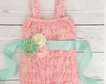 Baby girl romper set-pink and mint baby outfit-lace romper-cake smash outfit-photo prop-baby shower gift-1st birthday outfit girl-cake smash
