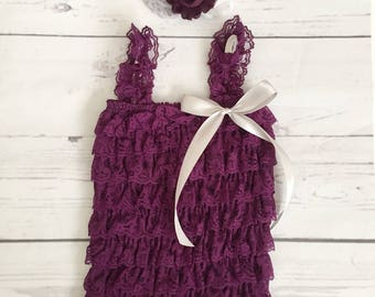 baby girl clothes-Vintage lace romper headband set-lace romper-newborn romper photo prop-1st birthday outfit-eggplant purple lace romper