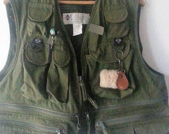 Vintage FLY FISHING VEST with Net and Accessories
