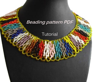 Necklace Boho. Beading Tutorial. Beading pattern PDF. Instant download.