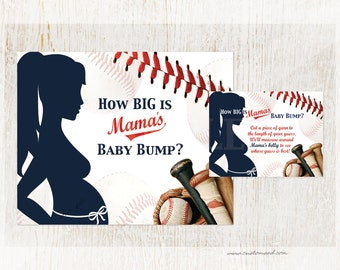 Baseball Baby Shower Game, Measure Belly, Baby Bump, Instant Download, DIY Printable, Mama's Belly Bump, Momma, Mother-to-be Party Games