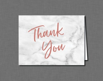 Marble Thank You Cards Bridal Shower rose gold BV42 Printable - Instant Download
