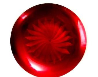 1960s Vintage ELOXSOREN Norway Enamel Aluminum 10in Red Starburst Pinwheel Round Platter Plate Danish Modern Ex Cond Emalox Cathrineholm MCM
