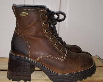Chunky Heel Boots Etsy
