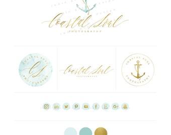 Anchor Logo - Hand Lettered style Logo design - Nautical Gold Foil Logo Design - PreDesigned Custom Logo - branding set - photography logo