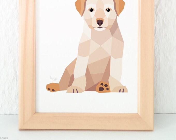 Puppy print, Baby animal nursery art, Dog illustration, Geometric dog, Children's room art, Baby animal art, Cute baby art, Cute animal art